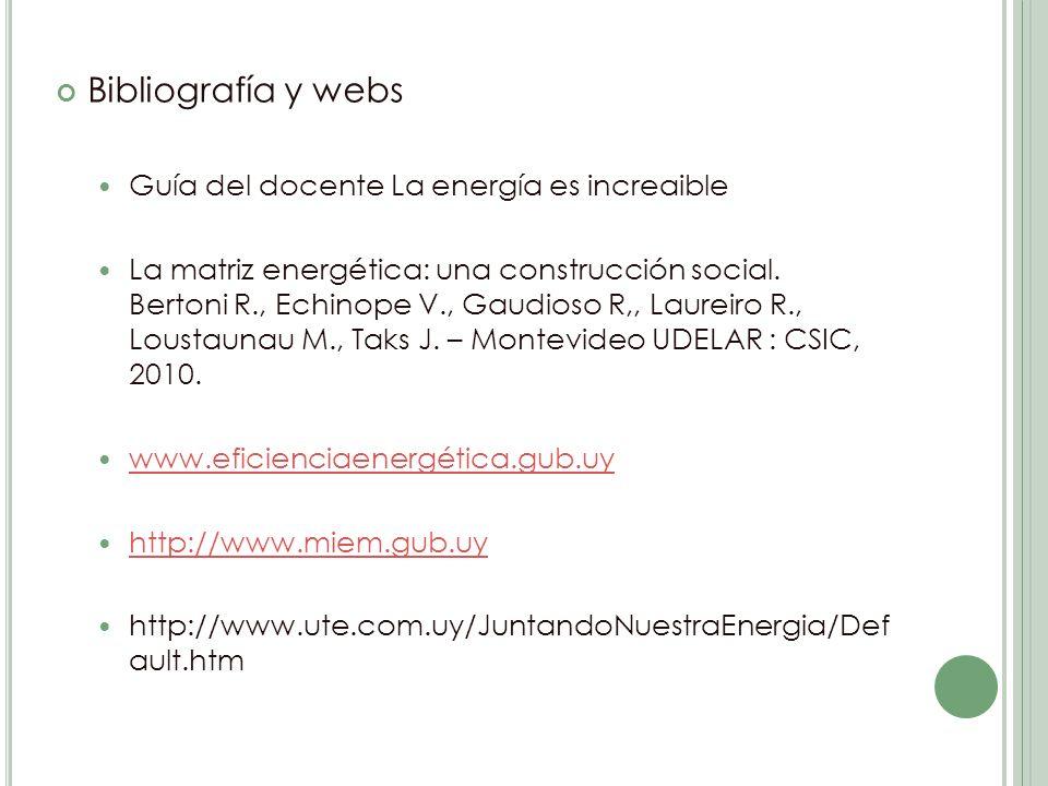 Bibliografía y webs Guía del docente La energía es increaible