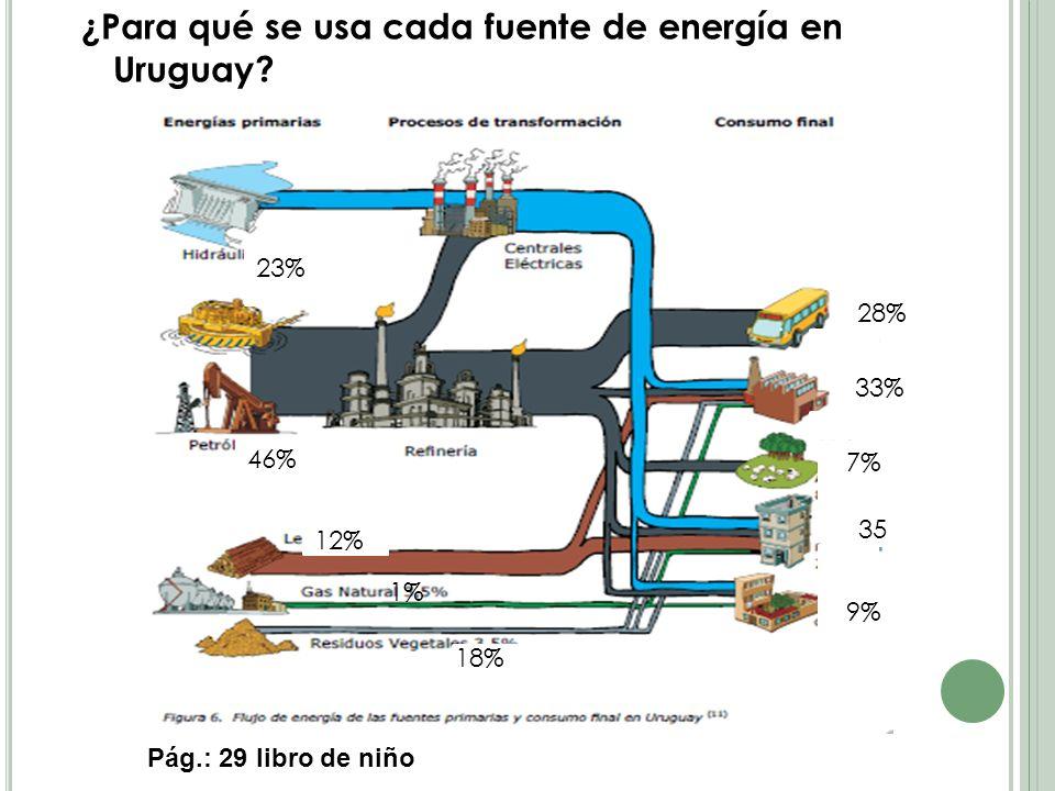 ¿Para qué se usa cada fuente de energía en Uruguay