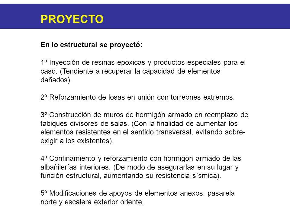 PROYECTO En lo estructural se proyectó: