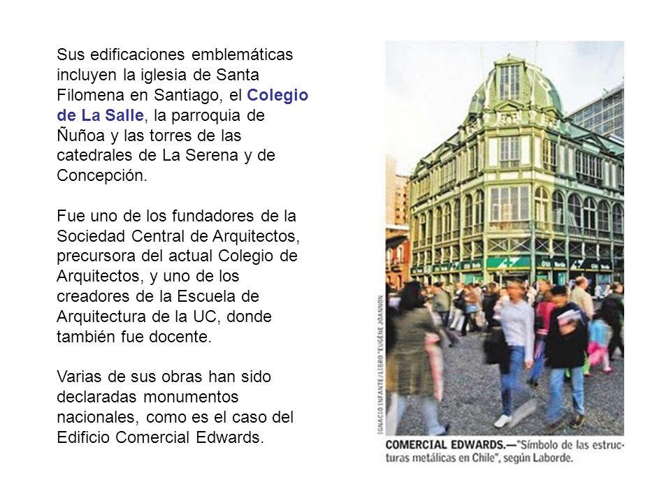 Sus edificaciones emblemáticas incluyen la iglesia de Santa Filomena en Santiago, el Colegio de La Salle, la parroquia de Ñuñoa y las torres de las catedrales de La Serena y de Concepción.