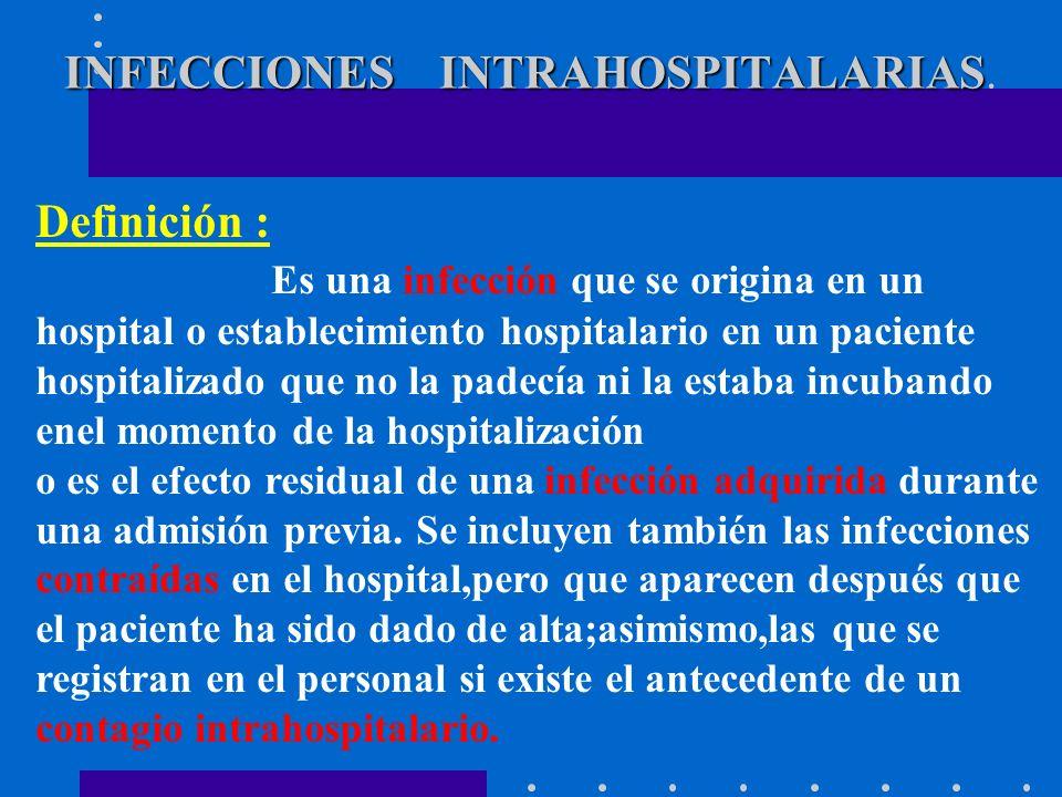 INFECCIONES INTRAHOSPITALARIAS.
