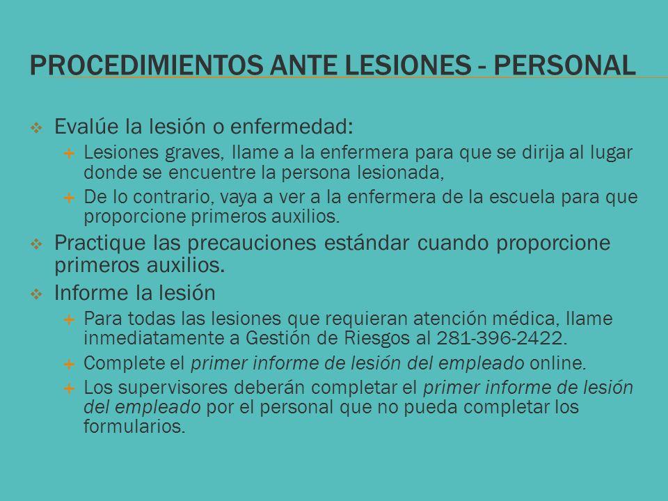 PROCEDIMIENTOS ANTE LESIONES - Personal