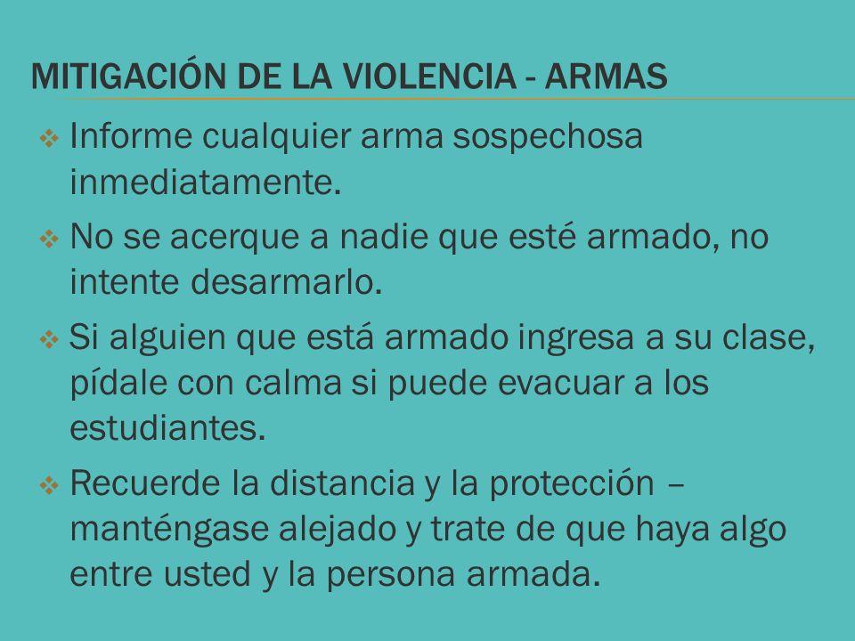 Mitigación de la violencia - armas
