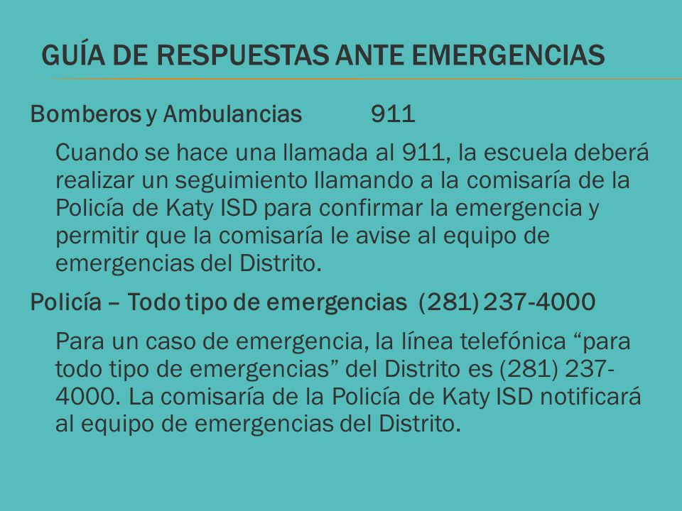 GUÍA DE RESPUESTAS ANTE EMERGENCIAS