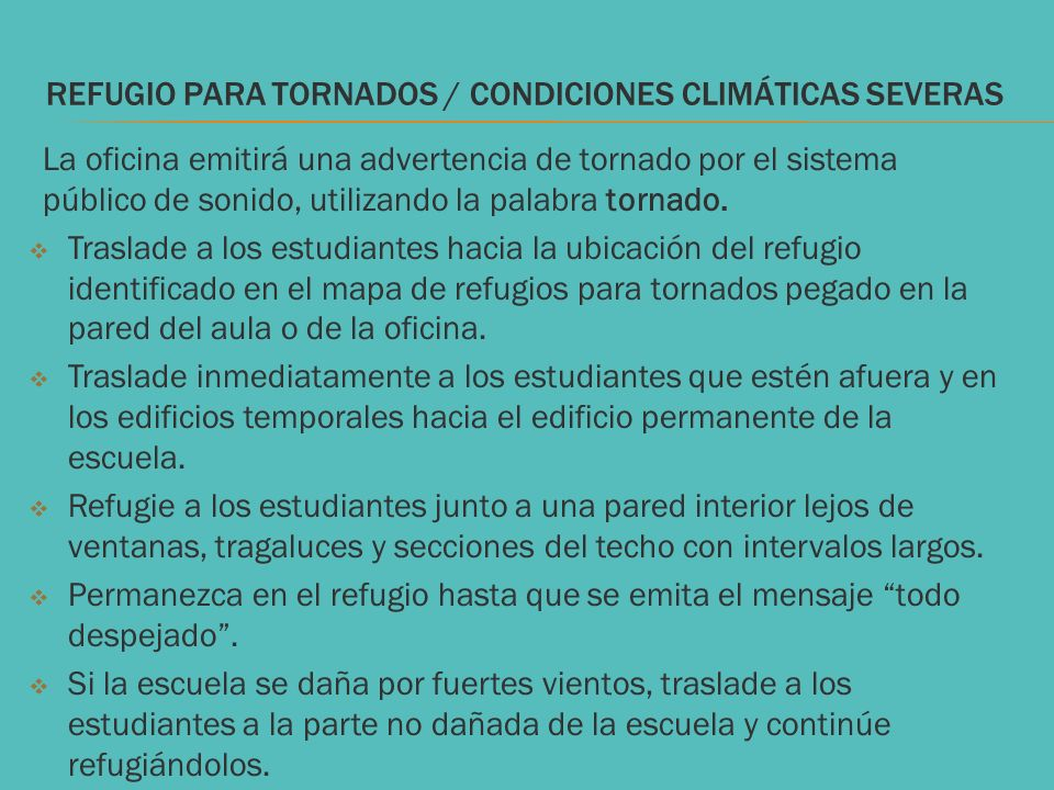 REFUGIO PARA Tornados / CONDICIONES CLIMÁTICAS SEVERAS