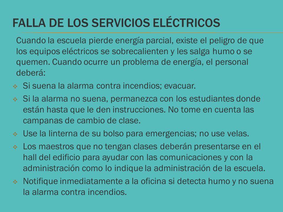 FALLA DE LOS SERVICIOS ELÉCTRICOS