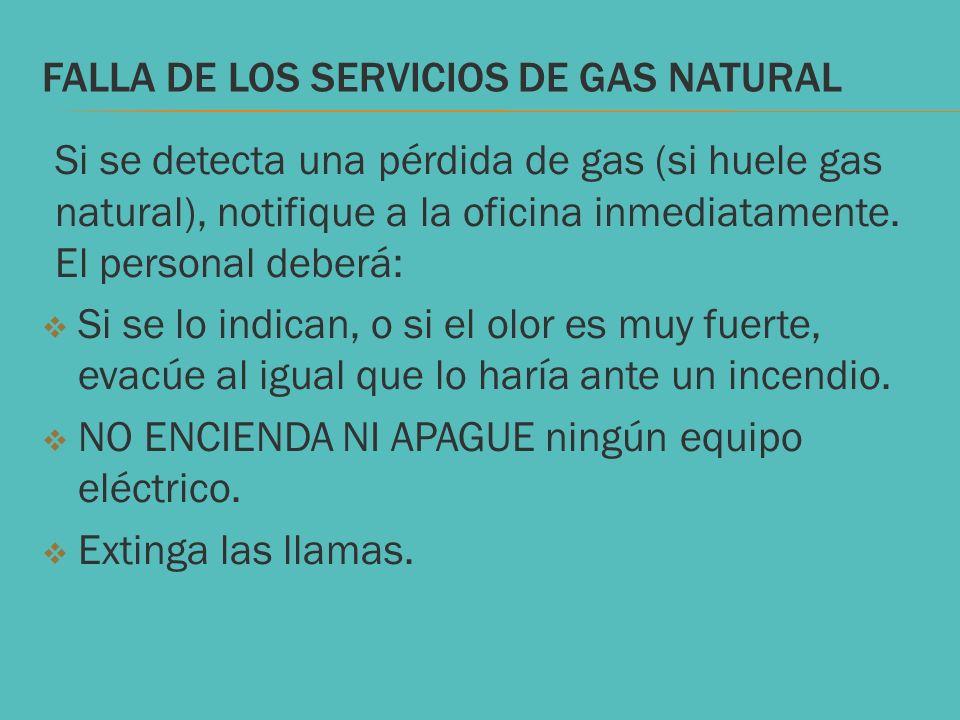 FALLA DE LOS SERVICIOS de gas natural