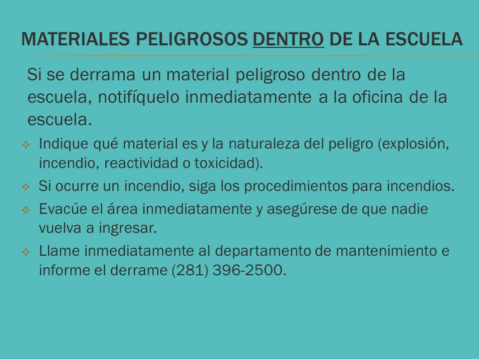 MATERIALES PELIGROSOS dentro DE LA ESCUELA