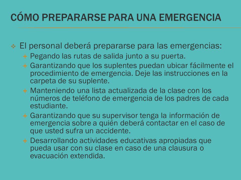 CÓMO PREPARARSE PARA UNA EMERGENCIA