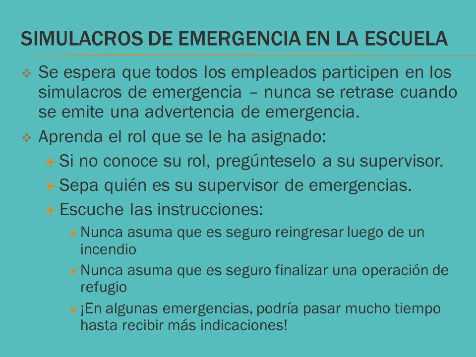 SIMULACROS DE EMERGENCIA EN LA ESCUELA