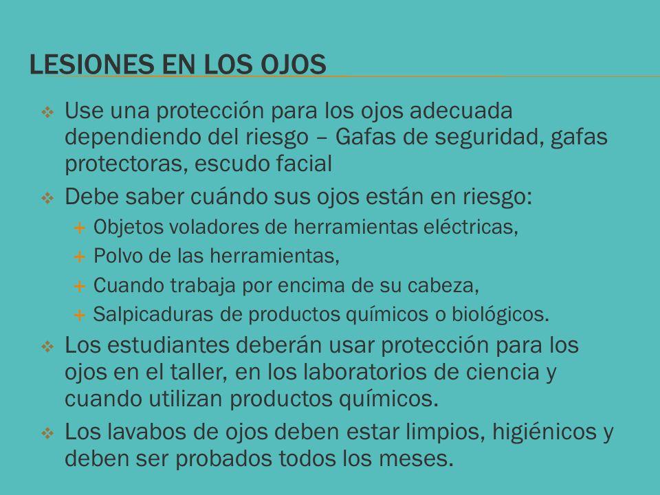LESIONES EN LOS OJOS Use una protección para los ojos adecuada dependiendo del riesgo – Gafas de seguridad, gafas protectoras, escudo facial.