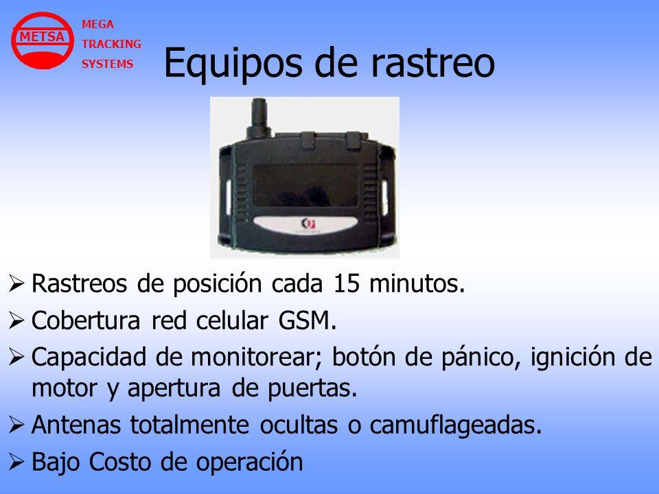 Equipos de rastreo Rastreos de posición cada 15 minutos.