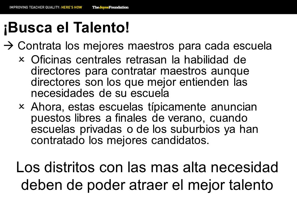 ¡Busca el Talento! Contrata los mejores maestros para cada escuela.