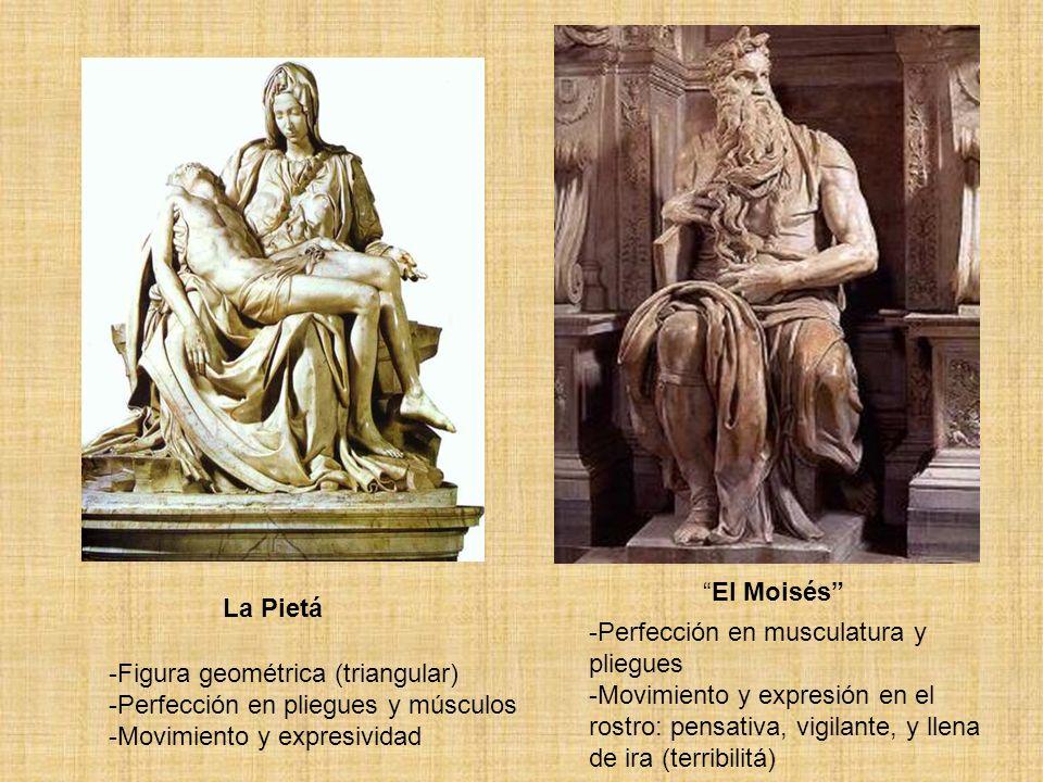 El Moisés La Pietá. Perfección en musculatura y pliegues. Movimiento y expresión en el rostro: pensativa, vigilante, y llena de ira (terribilitá)