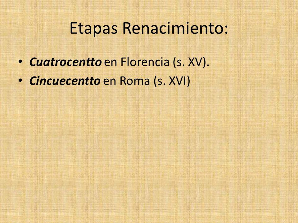 Etapas Renacimiento: Cuatrocentto en Florencia (s. XV).