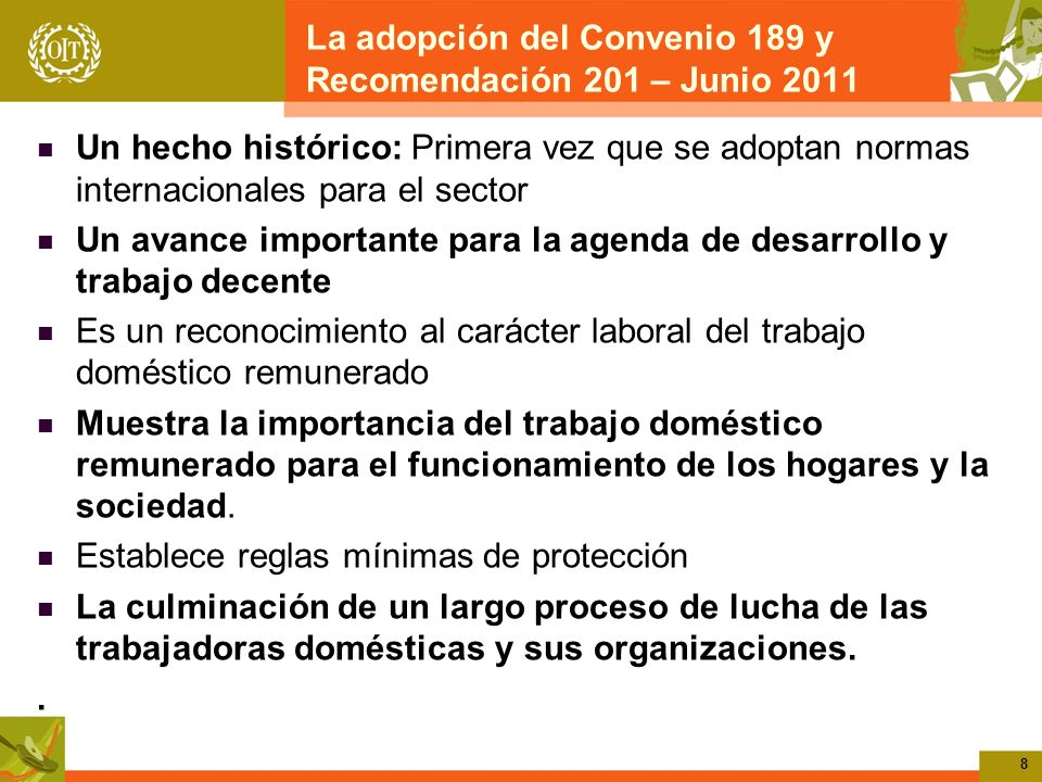 La adopción del Convenio 189 y Recomendación 201 – Junio 2011