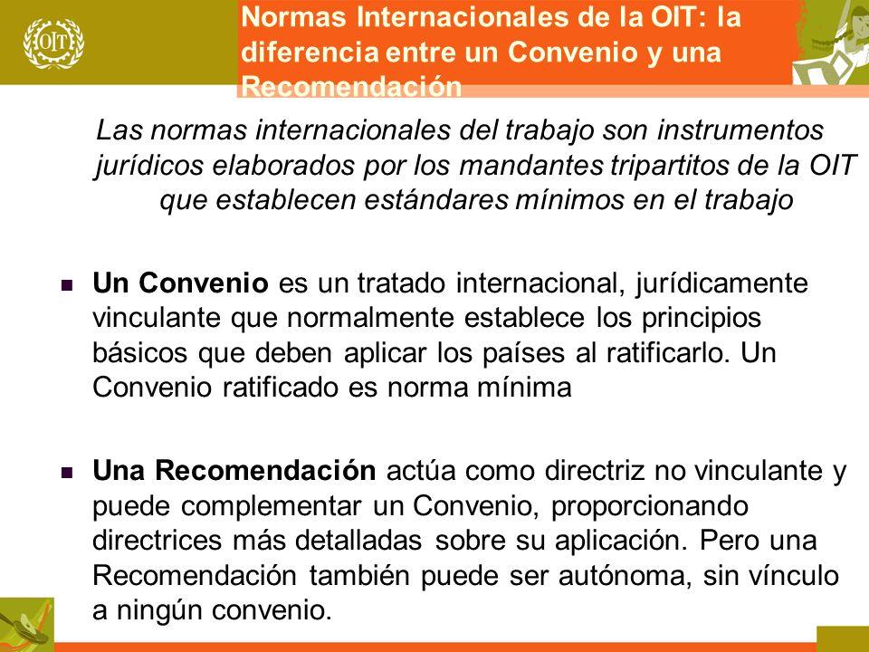 Normas Internacionales de la OIT: la diferencia entre un Convenio y una Recomendación