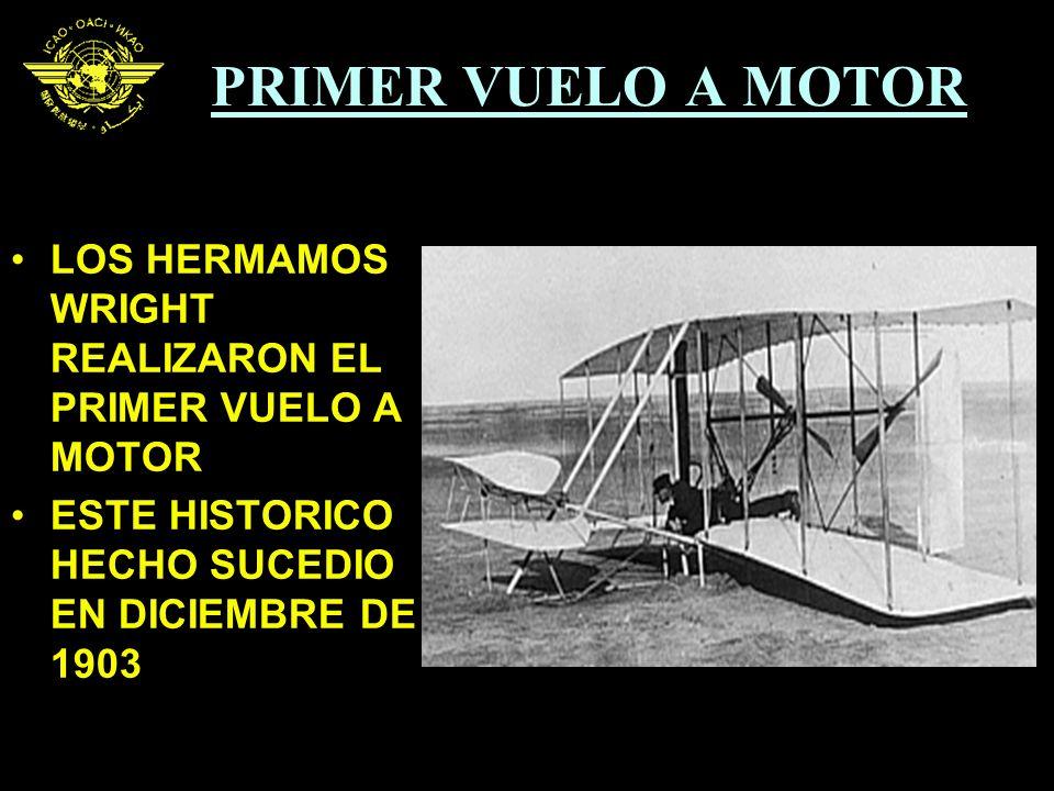 PRIMER VUELO A MOTOR LOS HERMAMOS WRIGHT REALIZARON EL PRIMER VUELO A MOTOR.