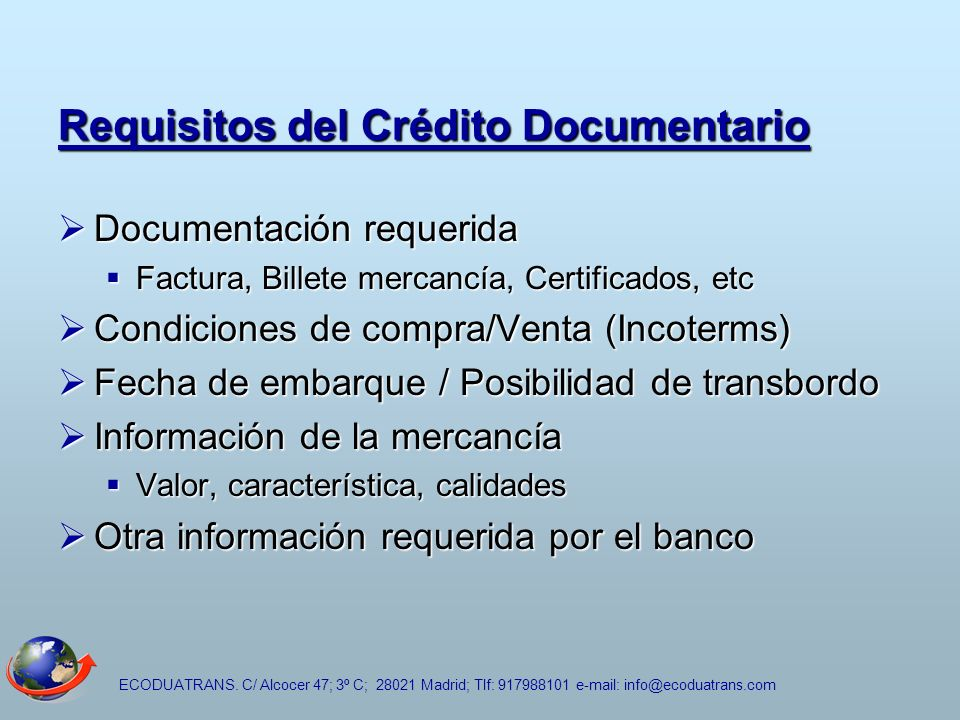 Requisitos del Crédito Documentario