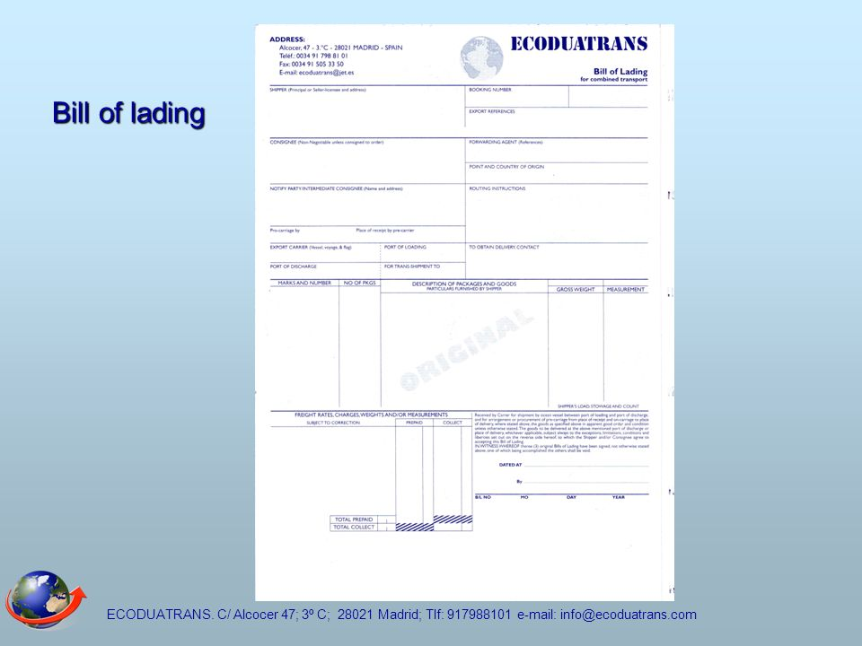 Bill of lading ECODUATRANS.
