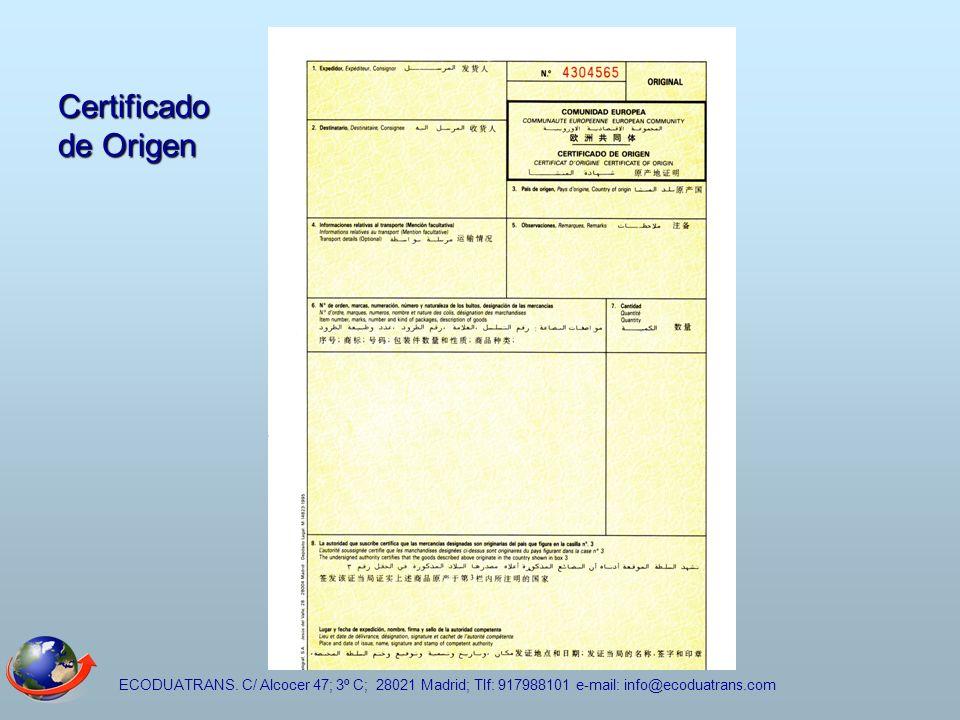 Certificado de Origen ECODUATRANS.