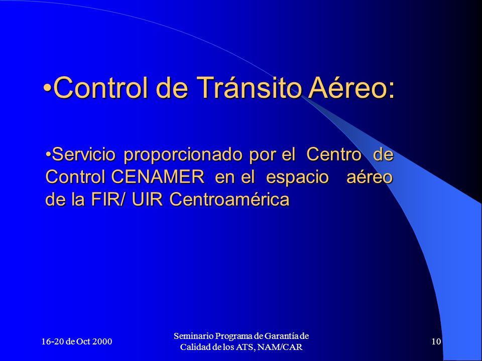 Control de Tránsito Aéreo: