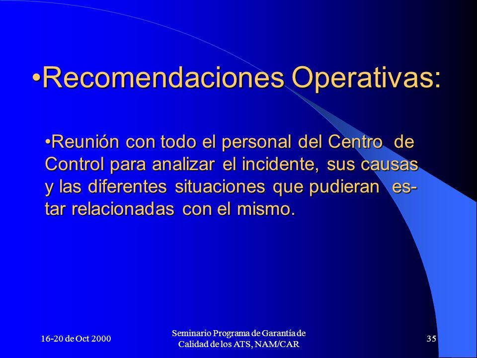 Recomendaciones Operativas: