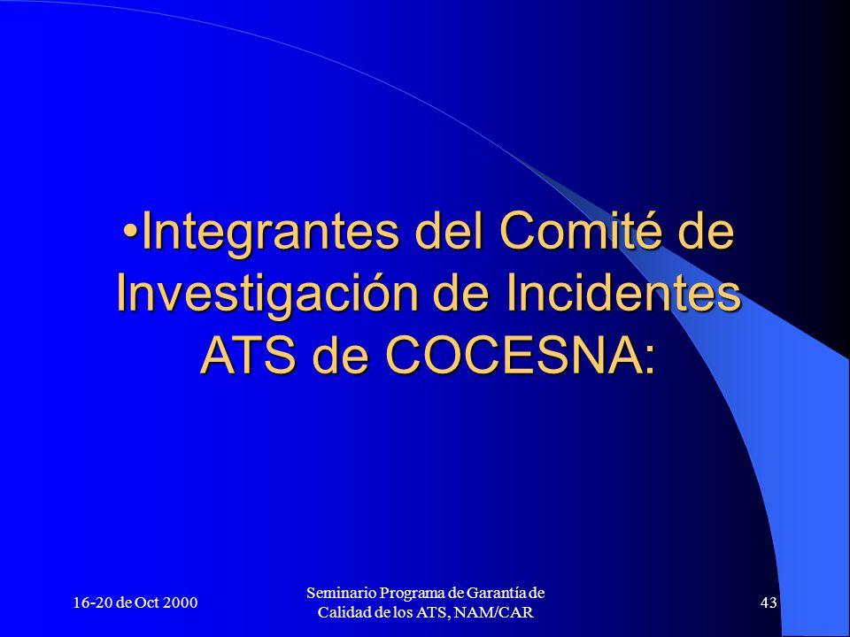 Integrantes del Comité de Investigación de Incidentes ATS de COCESNA: