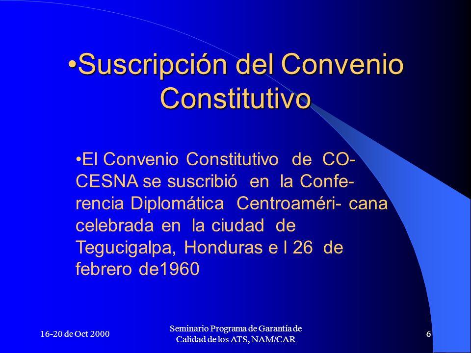 Suscripción del Convenio Constitutivo