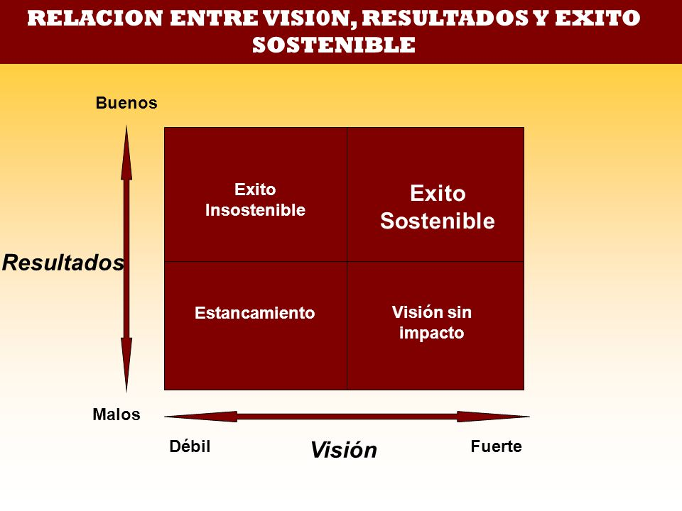 RELACION ENTRE VISI0N, RESULTADOS Y EXITO SOSTENIBLE