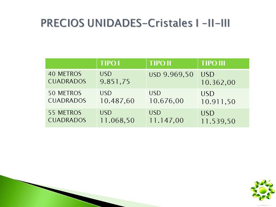 PRECIOS UNIDADES-Cristales I –II-III