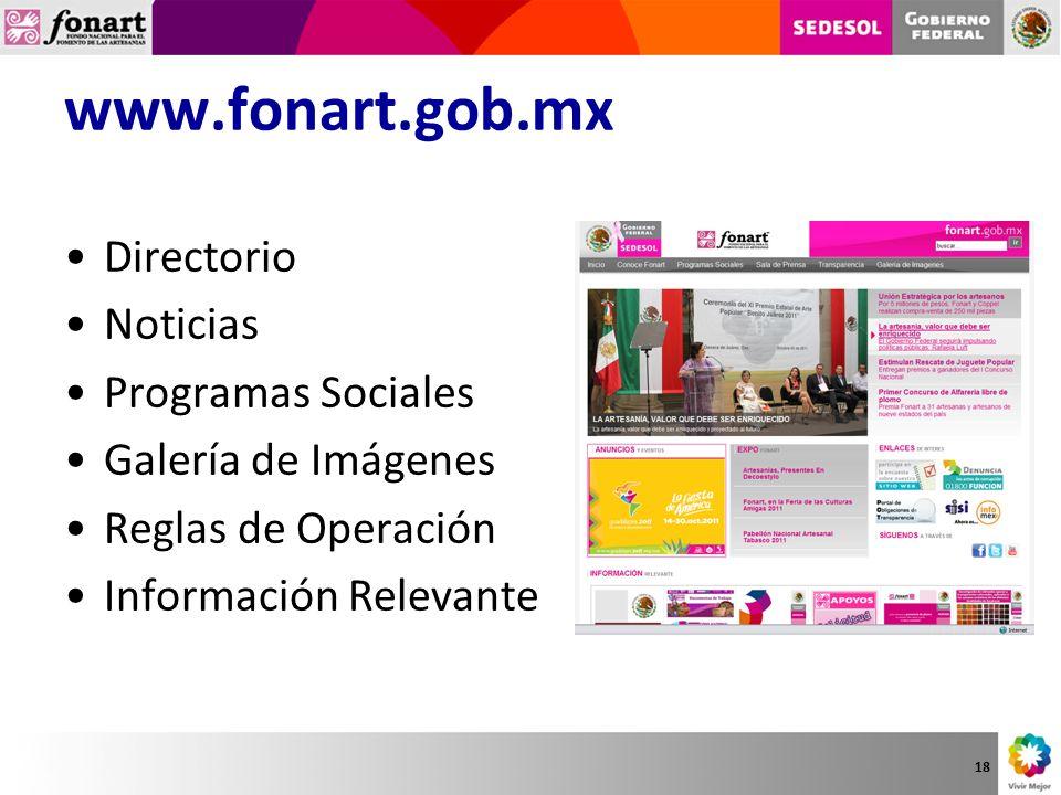 www.fonart.gob.mx Directorio Noticias Programas Sociales