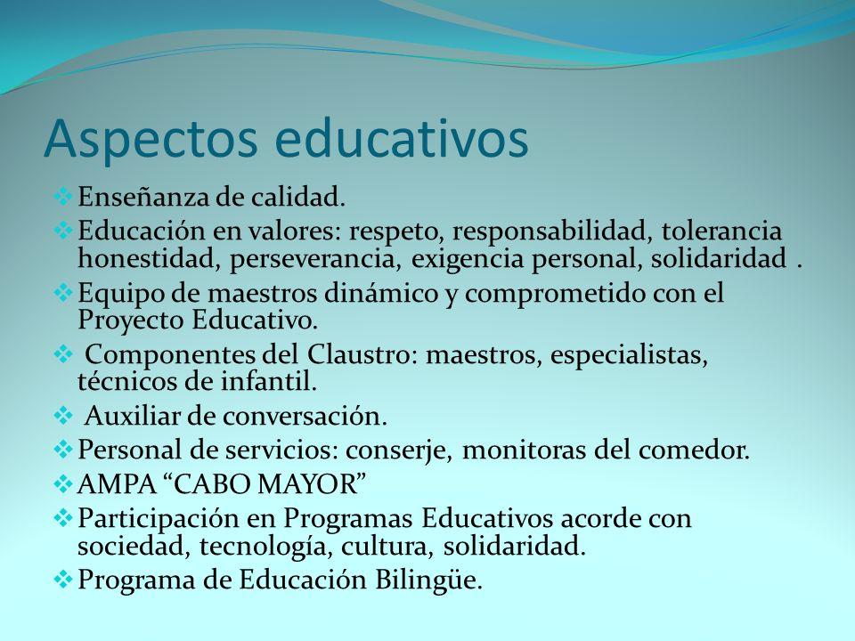 Aspectos educativos Enseñanza de calidad.