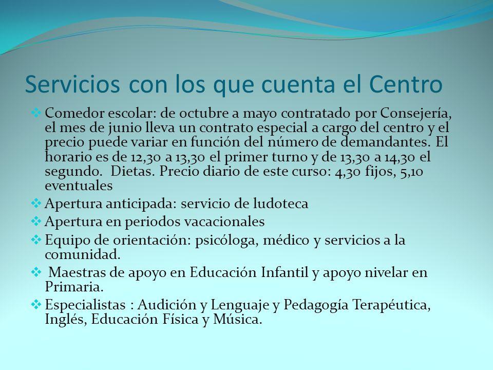 Servicios con los que cuenta el Centro