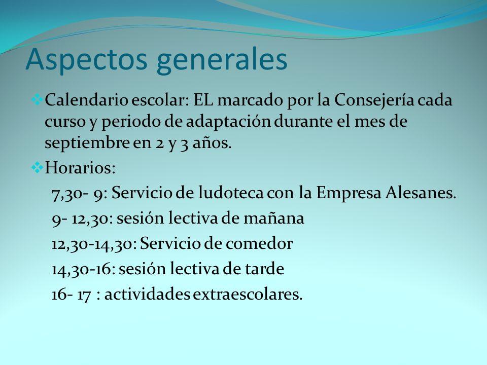 Aspectos generales Calendario escolar: EL marcado por la Consejería cada curso y periodo de adaptación durante el mes de septiembre en 2 y 3 años.