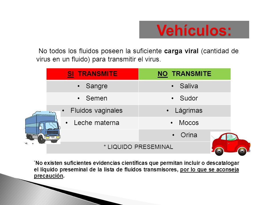 Vehículos: No todos los fluidos poseen la suficiente carga viral (cantidad de virus en un fluido) para transmitir el virus.