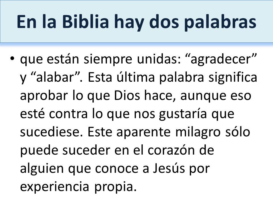 En la Biblia hay dos palabras