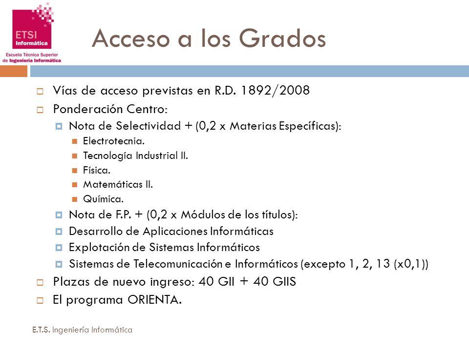 Acceso a los Grados Vías de acceso previstas en R.D. 1892/2008