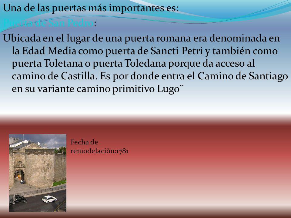 Una de las puertas más importantes es: Puerta de San Pedro: Ubicada en el lugar de una puerta romana era denominada en la Edad Media como puerta de Sancti Petri y también como puerta Toletana o puerta Toledana porque da acceso al camino de Castilla. Es por donde entra el Camino de Santiago en su variante camino primitivo Lugo¨