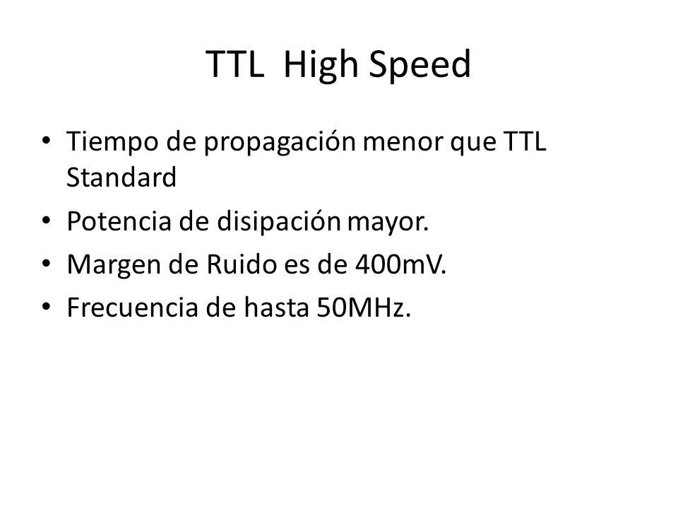 TTL High Speed Tiempo de propagación menor que TTL Standard
