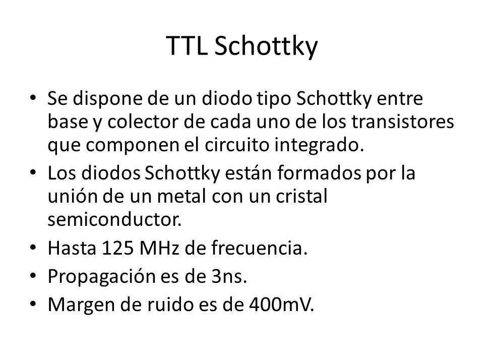 TTL Schottky Se dispone de un diodo tipo Schottky entre base y colector de cada uno de los transistores que componen el circuito integrado.