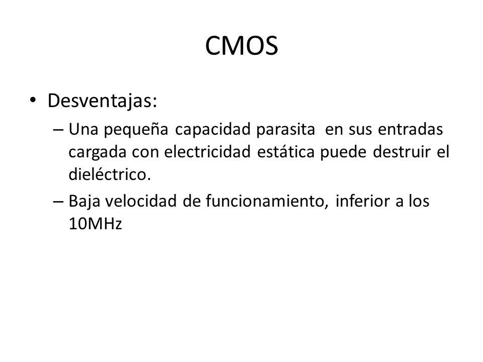 CMOS Desventajas: Una pequeña capacidad parasita en sus entradas cargada con electricidad estática puede destruir el dieléctrico.