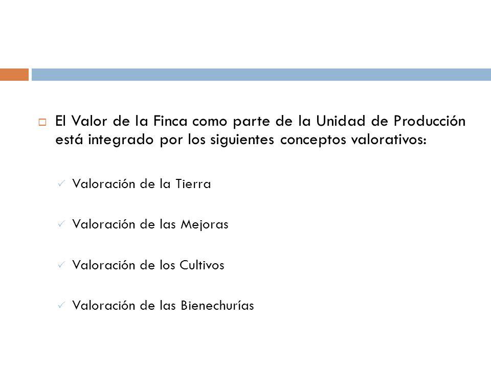 El Valor de la Finca como parte de la Unidad de Producción está integrado por los siguientes conceptos valorativos: