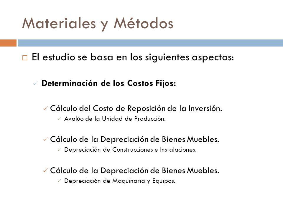 Materiales y Métodos El estudio se basa en los siguientes aspectos: