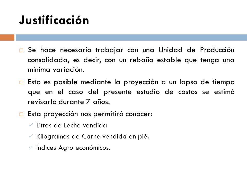 Justificación Se hace necesario trabajar con una Unidad de Producción consolidada, es decir, con un rebaño estable que tenga una mínima variación.