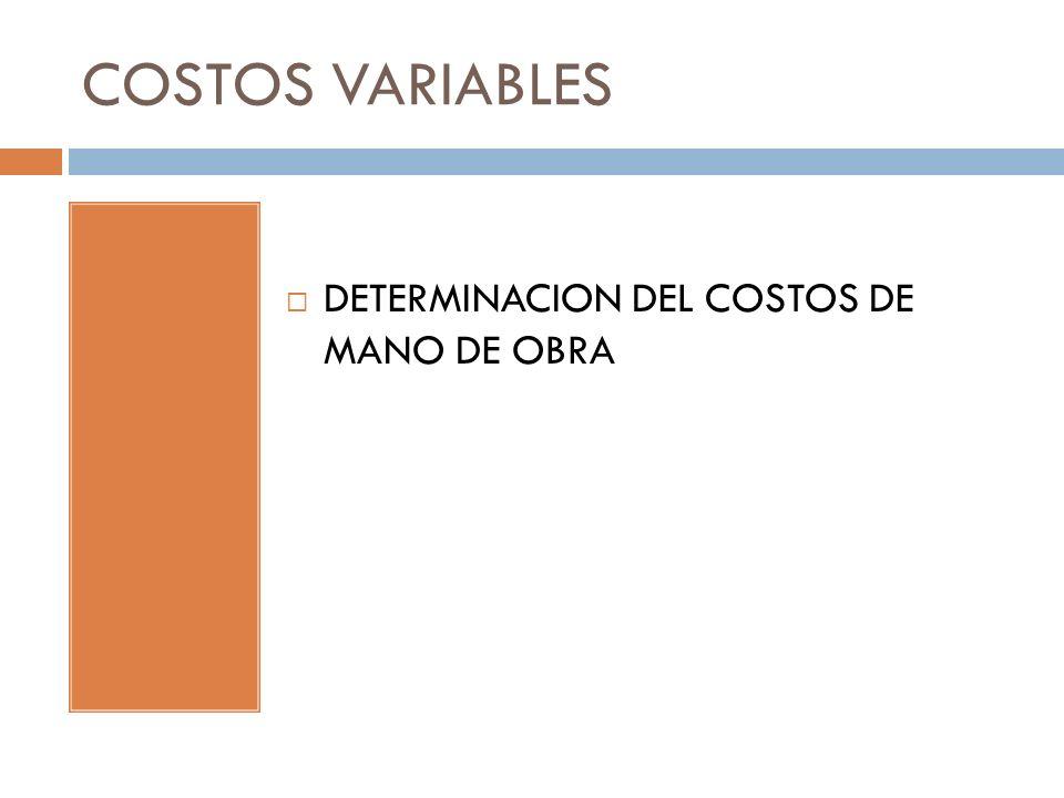 COSTOS VARIABLES DETERMINACION DEL COSTOS DE MANO DE OBRA