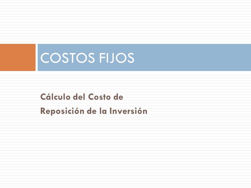 COSTOS FIJOS Cálculo del Costo de Reposición de la Inversión