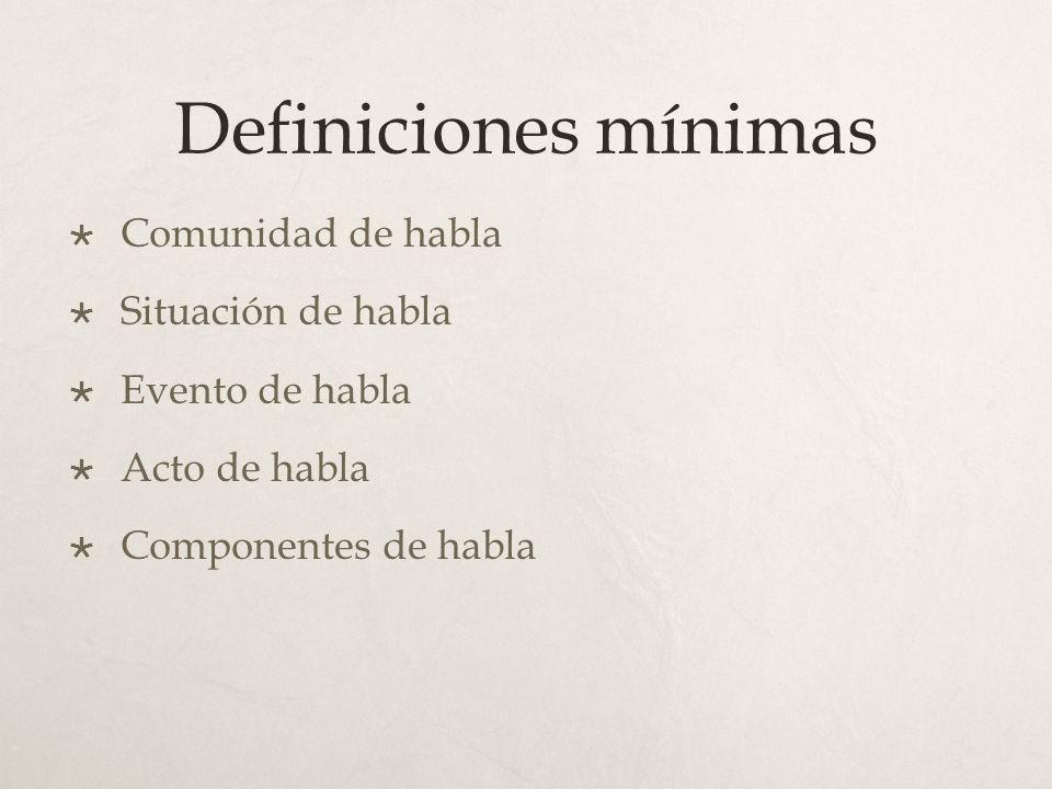 Definiciones mínimas Comunidad de habla Situación de habla