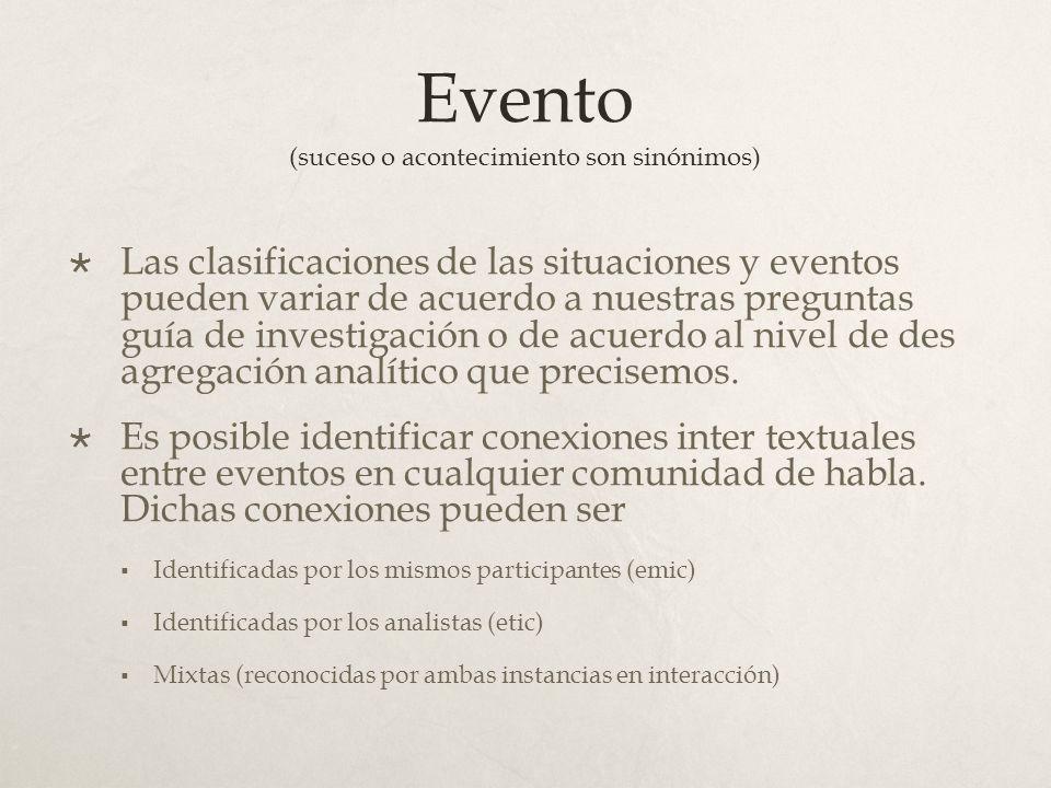 Evento (suceso o acontecimiento son sinónimos)