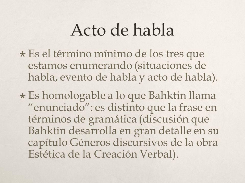 Acto de habla Es el término mínimo de los tres que estamos enumerando (situaciones de habla, evento de habla y acto de habla).